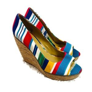 Nine West Wildthing rainbow striped wedges size 8